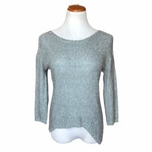 QUINN KNIT HI-LO CROPPED SLEEVE SWEATER